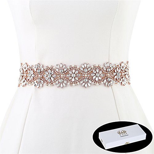 FANGZHIDI 1 Yard Flower Rhinestone Applique Rose Gold, Crystal Bridal Sash Belts, Wedding Belt,Sew on Trims for Wedding Dress Bridesmaid Garter Decorations Iron on Sewing Beaded Women (GRA-084m) ()