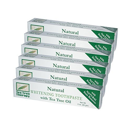 Tea Tree Therapy – Natural Whitening Toothpaste with oil, 3 Oz (Pack of 6)
