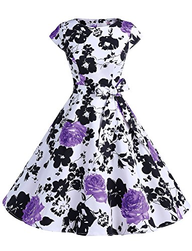 Dressystar DS1956 Women Vintage 1950s Retro Rockabilly Prom Dresses Cap-Sleeve S Purple Flower