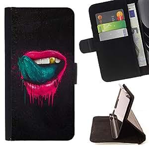 For Apple Apple iPhone 4 / iPhone 4S Case , Labios de color rosa Sexy lengua lamiendo los dientes de oro- la tarjeta de Crédito Slots PU Funda de cuero Monedero caso cubierta de piel