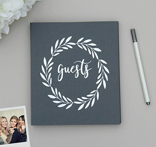 "Rustic Wedding Guest Book Alternative. Softcover Flat-Lay Cardstock, 8.5""x7"", 65 Grey Sheets (130 pgs) Boho Wedding, Birthday Guest Book for Instant Photos Guest Book Anniversary Guest Book (Grey)"