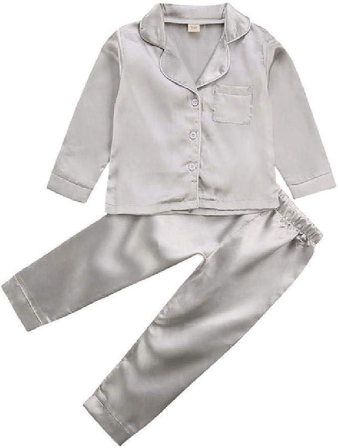 Conjunto de Pijamas de satén para niñas Ropa de Dormir de ...