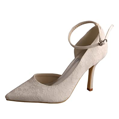 Wedopus MW458 Women s Ankle Strap Stiletto Heel Pumps Pointed Toe Bridal  Shoes Wedding Lace Size 5 292074b80c63