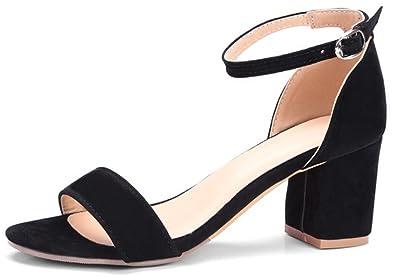 SHOWHOW Damen Peep Toe Blockabsatz Sandale Mit Schnalle Schwarz 35 EU ungYES