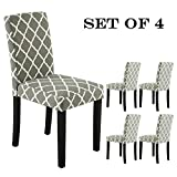 Cheap LSSBOUGHT Set of 2 Urban Style Fabric Dining Chairs with Solid Wood Legs (Flower Set of 4)
