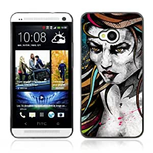 Designer Depo Hard Protection Case for HTC One M7 / Tattoo Woman Painting
