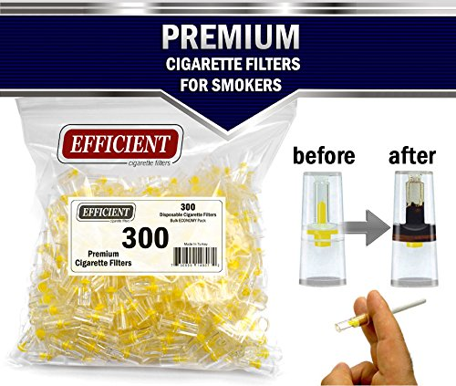 Filter Cigarette Holder - Efficient Cigarette Filter Tips Holders 8 Holes Extra Filtration System Regular Size Cigarettes & Roll Your Own (Not Slim) Bulk Economy Pack (Total 300 Filters)