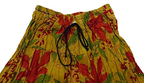 Nueva Colección De Verano De Desgaste Falda Corta De Algodón Floral Estampado Casual Falda Con Estilo Mostaza Amarillo, Rojo y Verde