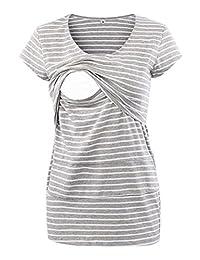 Liu & Qu Layered Irregular Maternity Nursing Shirt Tops for Breastfeeding
