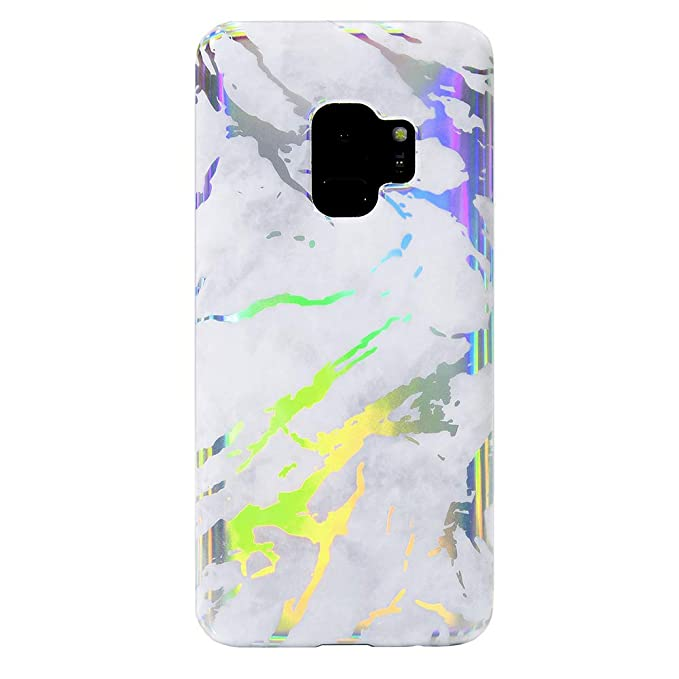 the best attitude cdc01 03ffe Holographic White Marble Samsung Galaxy S9 Case - Cute Premium Protective  Phone Cases for Girls Women [Drop Test Certified Cover for Galaxy S9]