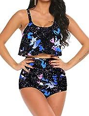 Avidlove High Waisted Bikini Swimsuit for Women Tummy Control 2 Piece Swimwear Bathing Suits S~4XL