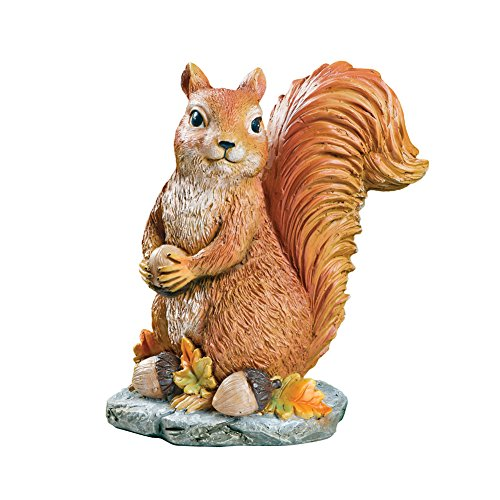 Collections Etc Sylvester Squirrel Garden Statue with Acorns, Fall Outdoor or Indoor Décor (Yard Squirrel Decor)