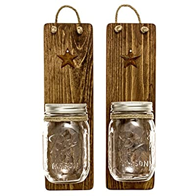 Heartful Home Handmade Rustic Wood Mason Jar Wall Sconces Set (2) Accent Living Room Walls w Farmhouse Country Primitive Decor Original Ball Jar Housewarming Wedding Gift - *These Handcrafted Sconces with star accent come in your choice of color: Provincial stain has a lighter driftwood style color great for the Beach House Shabby Chic look, and really allows the natural patterns in the pinewood to show through. Jacobean gives the sense of colonial era cabin and would make great primitive style lighting. Honey gives the feel of an old barn in the countryside weathered & distressed with a slight red hint. *UNIQUE GIFT IDEA & GREAT DECORATION FOR ANY SPECIAL OCCASION! Are you looking for the ideal gift for the newly engaged couples', housewarming party, an anniversary, or birthday present? Everyone loves Mason Jar Decor! These would also look great as rustic party decorations for a wedding or bridal shower! They make a great flatware caddy for parties, and are the perfect accent when filled with fresh flowers! *MULTI-FUNCTION WOODEN SCONCES VERSATILE DECORATION IN ANY ROOM OF THE HOUSE! Accent walls with the perfect look from farmhouse to boho. These sconces would look lovely on each side of a fireplace in a cozy den or living room. In the bathroom they are perfect as a his and her toothbrush holder, or as an organizer beside of the vanity make great storage for beauty supplies such as q tips and brushes. Use them as an organizer in the kitchen for utensils, or as planters for an indoor herb garden. - living-room-decor, living-room, home-decor - 51UGnA8gtBL. SS400  -