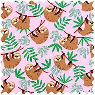 product image for SheetWorld 100% Cotton Flannel Fabric by The Yard, Sloths Pink, 36 x 44