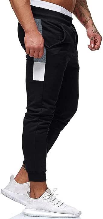 Mens Joggers Solid Casual Bodybuilding Pants Flexible Waist Drawstring Sweatpants Slim Fit Trousers Black