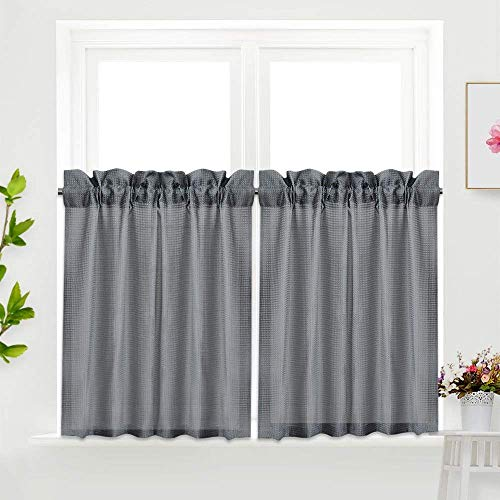 IDEALHOUSE Grey Tier Curtains,Waffle Woven Textured Short Window Curtain for Cafe,Bathroom,Kitchen & Kids Bedroom Rod Pocket Curtains (2 Panels, 30Inch Wide by 36Inch Long) (Curtains Cafe Gray)