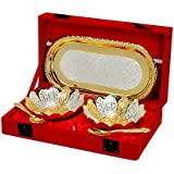 Jaipur Ace Silver And Gold Plated Floral Shaped Brass Bowl And Tray Set (Absg00002)