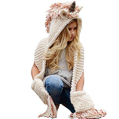 Kids Winter Unicorn Hats Knitted Earflap Hood Scarves Animal Ear Cap Beanies