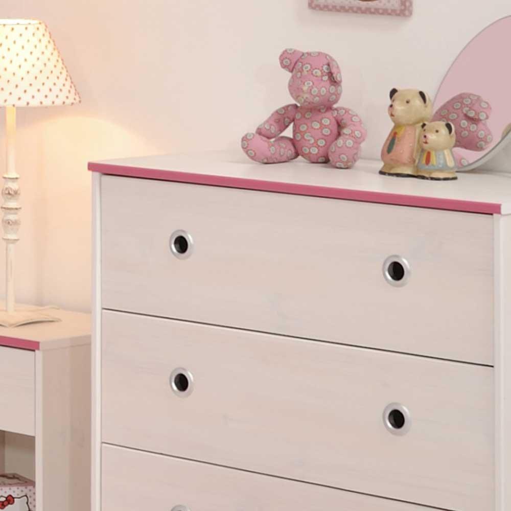 schubladenkommode für kinderzimmer weiß pink blau pharao24: amazon ... - Kinderzimmer Weis Pink