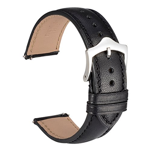 - WOCCI 18mm Quick Release Watch Band,Black Full Grain Leather Watch Strap with Taper Buckle