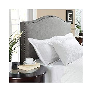 modern arch upholstered padded gray linen fabric headboard with metal nailheads queen