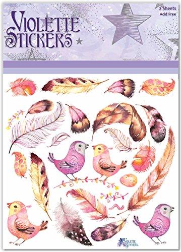 Violette Stickers Bird Feathers