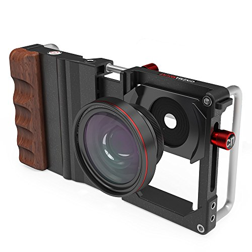 Cinema Mount Professional Smartphone Stabilizer Rig Mount - Retail Packaging - Black with Rosewood Grip