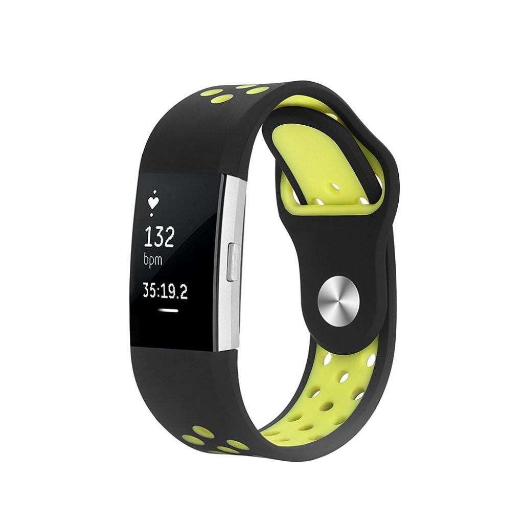 Must Have Memela ( TM ) for Fitbit Charge 2小さな時計、お気に入りシリコンクイックリリースソフトラバー交換用時計バンド  イエロー B07634ZN2H