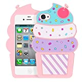 Yonocosta iPhone 4 Case, iPhone 4S Case, 3D Cute Cartoon Cherry Cupcakes Ice Cream Shaped Soft Silicone Case Shockproof Full Protection Cover for iPhone 4 / iPhone 4S (Ice Cream Pink)
