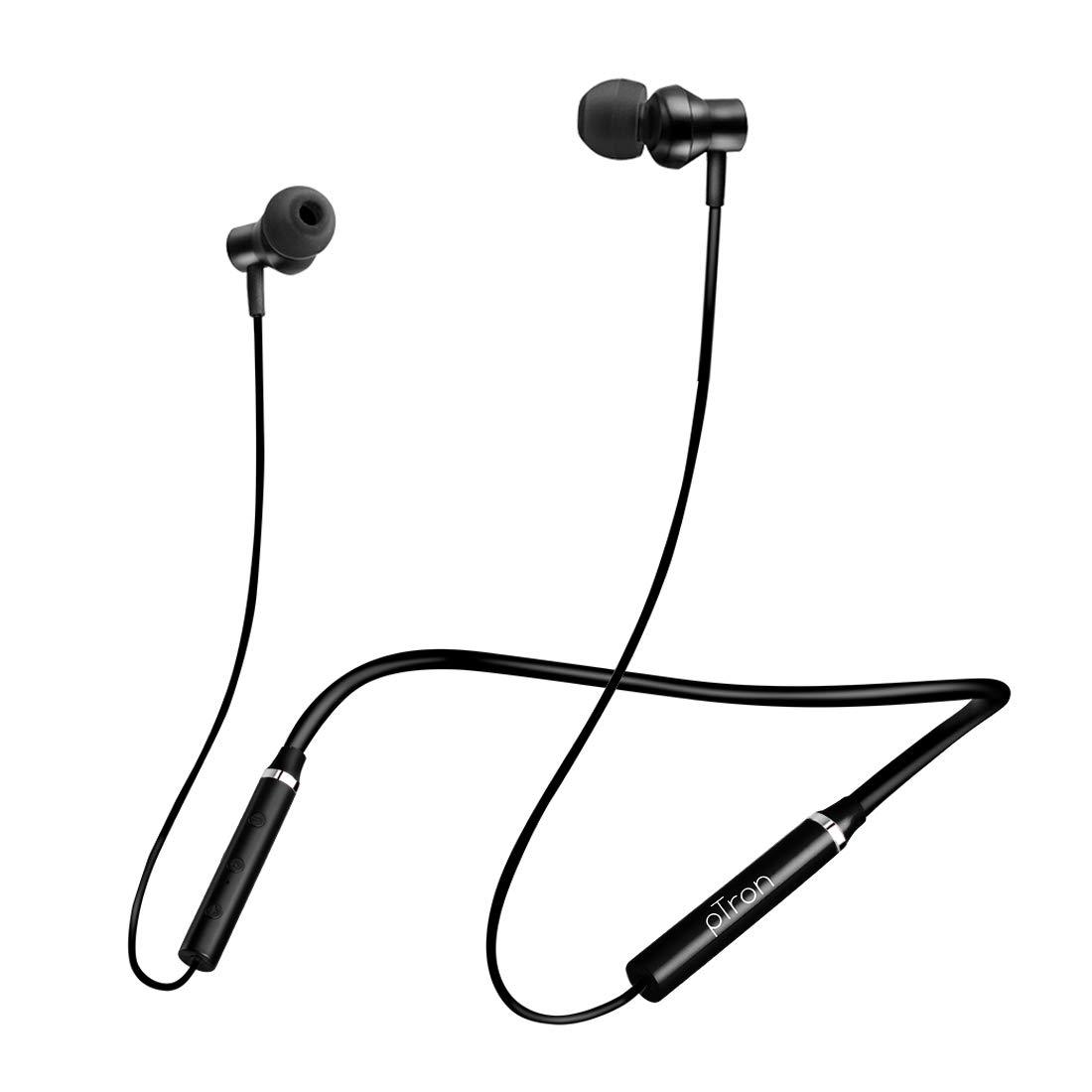 pTron Tangent Beats Bluetooth 5.0 Wireless Headphones with Deep Bass, Ergonomic Design, IPX4 Sweat/Waterproof Neckband, Magnetic Earbuds, Voice Assistant, Passive Noise Cancelation & Mic - (Black)