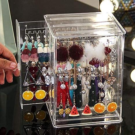 16 Pairs Earrings Tops Organizer Velvet Folding Jewellery Vanity Box Large Makeup Travelling Women and Girls 30x23 X7.5 cm