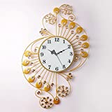 TIANTA- European - Style Home Crystal Diamond Iron Mute Hanging Clock Living Room Bedroom Creative Wall Clocks Simple Wall Stickers decoration ( Color : Gold )