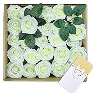 Artificial Flowers 25 PCS Fake Rose Flower with Stem Wedding Bouquets Home Party Centerpieces Decoration, Ivory, Greeting Cards Included 44