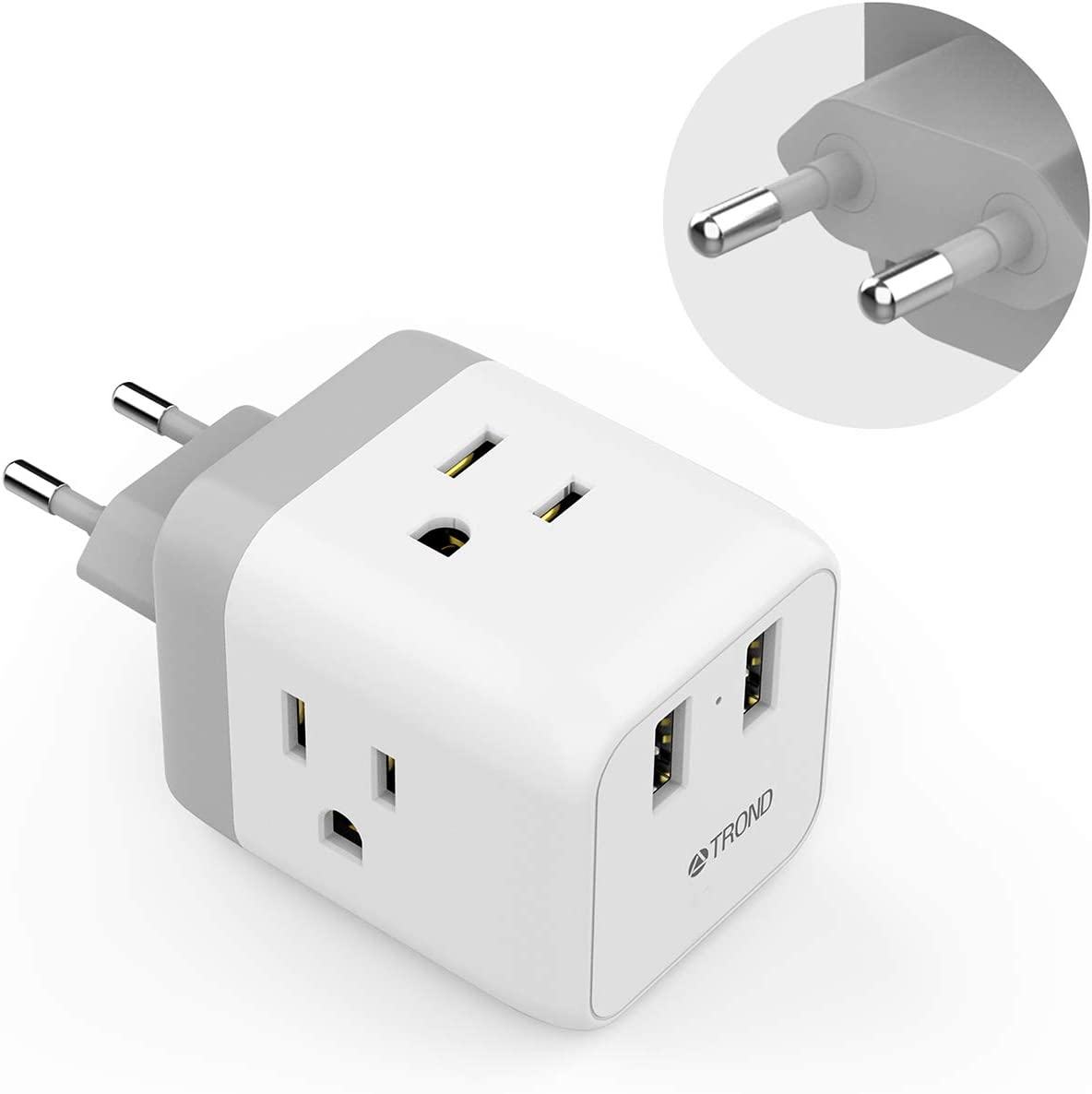 Outlet Plug Adapter black Rling 6-Pack USA Power Converter Travel Adapter to European Adapter American