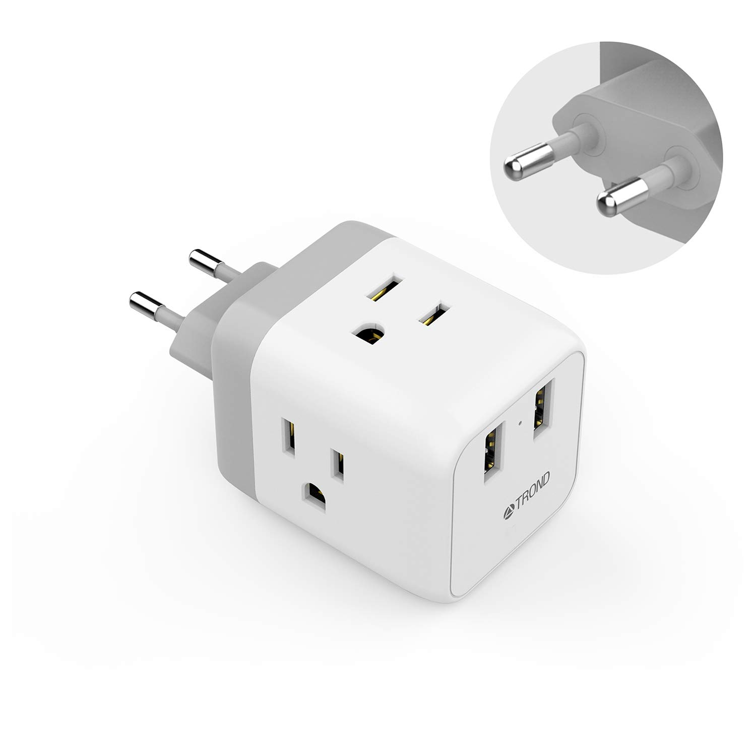 European Travel Plug Adapter, TROND 5 in 1 US to EU Power Adapter with 2 USB Ports and 3 American Outlets, for Germany France Italy Spain Greece Israel (Type C Plug), White