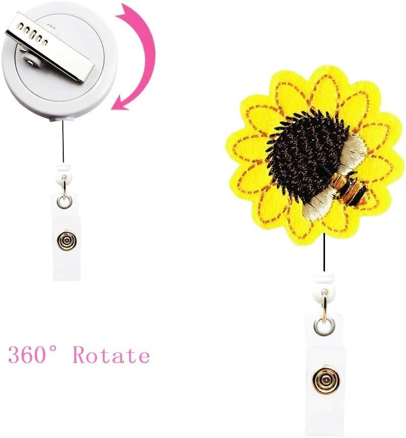 Sunflower Retractable Badge Holder with Alligator Clip Retractable Badge Holder Reel 26 inch Retractable Cord ID Badge Reel with Sunflower