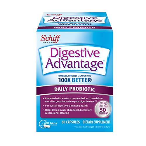 Daily Probiotic Capsule – Digestive Advantage 80 Capsules, Survives 100x Better than regular 50 billion CFU, Lessens Bloating, Calcium, Promotes Digestive Health and Gut Flora