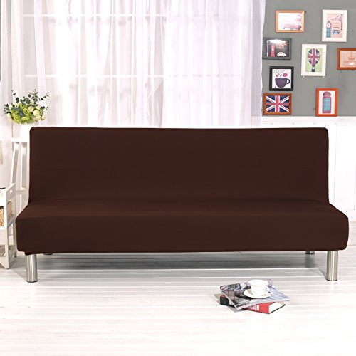 DIFEN Futon Slipcover Sofa Bed Cover Solid Color Full Folding Elastic Armless 80 x 50 inch, Lightweight Stretch Furniture Protector (Chocolate:80