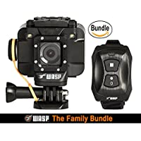 WASPcam 9905 WiFi Action-Sports Camera, Black (The Family Bundle)
