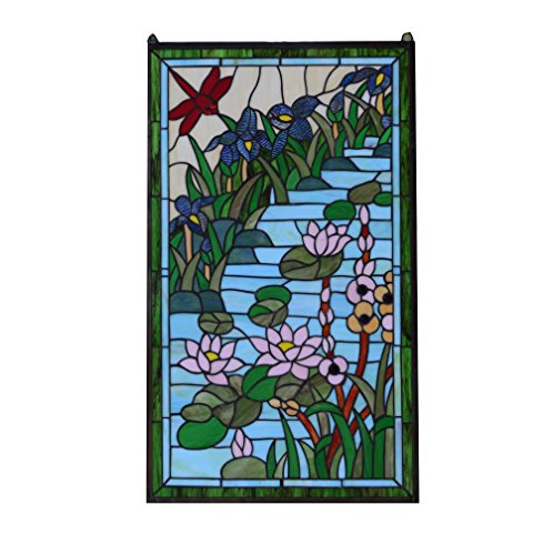 Stained Glass Lotus - TMI Tiffany Style stained glass window panel Dragonfly & waterlily lotus Flowers,20.5