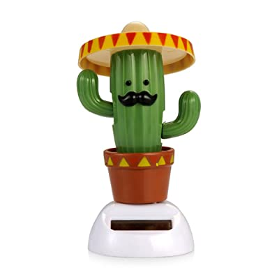 YGMONER Solar Dancing Toy Animal Solar Powered Dancing Dolls Swinging Animated Bobble Dancer Car Decor (Cactus): Toys & Games
