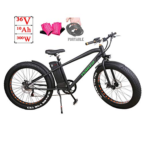 (NAKTO Fat Tire Electric Bicycle Super Stable 500W/350W/300W Brushless Motor 3 Working Mode 48V/36V Removable High Capacity Waterproof Lithium Battery for Men and Women)