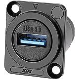 icepc Updated USB 3.0 Socket,D-Type Module Shielded,Industrial Panel Mount Bulkhead,Female/Female Feed Thru Coupler Signal,5G