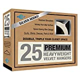Closet Complete Premium Quality, True-Heavyweight, 80-gram, Virtually-UNBREAKABLE Velvet Hangers, Ultra-Thin, Space Saving, No Slip Hangers, Best for SUIT, Dress, Pants, Shirt, 360° Spin, CHROME Hooks, Ivory Set of 25