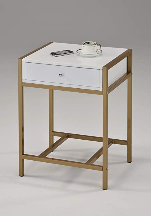 Amazon Com White And Gold Finish Nightstand Side End Table Bottom