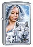 Zippo Custom Lighter: Mazzi Lady with Wolves - Street Chrome 78891