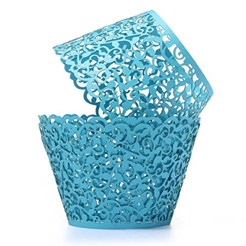 Coolrunner 48pcs Cupcake Wrappers, Cupcake Holders, Flower Vine Filigree Cutout Lace Cupcake Wrapper Wraps Liner for Wedding Party Cake Decoration -