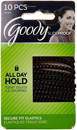 Goody Slide Proof Stayput Black Elastics, 4 mm 10 Count #307