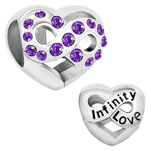 CharmsStory Infinity Love Heart Charms Sale Cheap Jewelry February Birthstone Crystal Beads Fit Pandora Bracelet - February Birthstone Charm