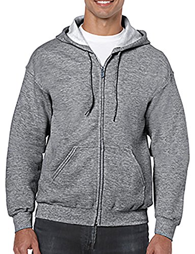 Grey Zip Hoodie (Gildan Heavy Blend Full-Zip Hooded Sweatshirt_Graphite Heather_XXXXX-large)